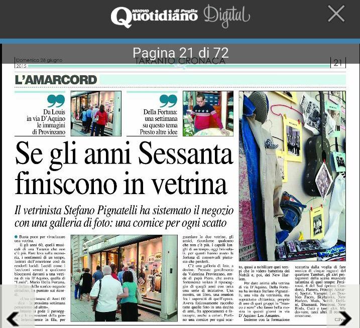 Sul Nuovo Quotidiano di Puglia di oggi: anni '60 in vetrina...